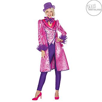 Coat Brokade Paisley Damer Frack Kostume Jakke Carnival Pink