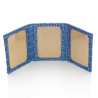Blue Nile Croco Leather Triple Photo Frame