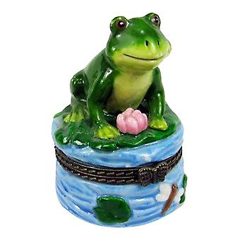 Green Froggy Frog on Lilypad Porcelain Hinged Trinket Box