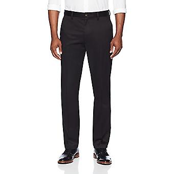 BUTTONED DOWN Men's Straight Fit Stretch Non-Iron Dress Chino Pant, Black, 38W x 28L
