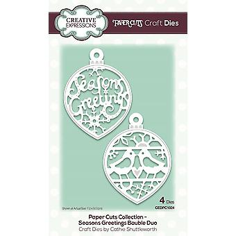 Creative Expressions Paper Cuts Seasons Greetings Bauble Duo Craft Dies 4pc