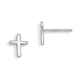 925 Sterling Silver Polished Post Earrings Religious Faith Cross Mini for boys or girls Earrings