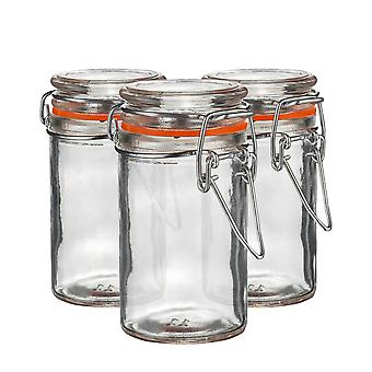Argon Tableware Glass Spice Jars with Airtight Clip Lid - 70ml Set - Orange Seal - Pack of 3
