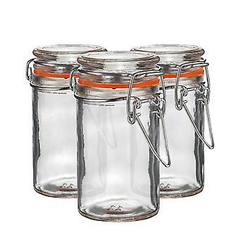 Argon Tableware Glass Spice Jars with Airtight Clip Lid - 70ml Set - Orange Seal - Balenie po 3