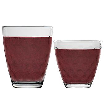 Bormioli Rocco Dots Water Tumblers and Highball Cocktail Glasses Set - 250ml, 390ml - 12pc Set