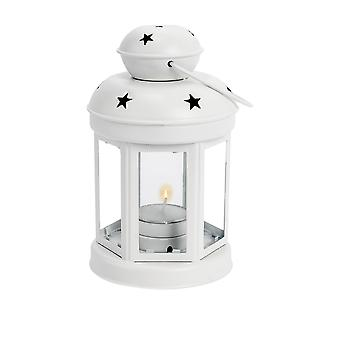 Nicola Spring Candle Lanterns Tealight Holders Vintage Metal Hanging Indoor Outdoor - 16cm - White