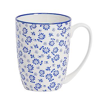 Nicola Spring Daisy Patterned Tea and Coffee Mug - Large Porcelain Latte Cup - Navy Blue - 360ml