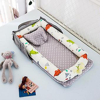 85x45cm Portable Baby Nest Bed With Pillow Baby Travel Bed- Infant Cotton