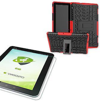 Für Huawei MediaPad T5 10.1 Zoll Hybrid Outdoor Schutzhülle Rot Tasche + 0.4 H9 Schutzglas