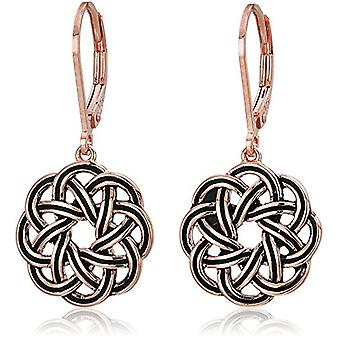 14k Rose Gold Plated Sterling Silver Celtic Knot Leverback, Rose, Size One Size