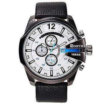 NORTH 6002 Fashion Men Quartz Watch Luxury Luminous Date Display Leather Strap