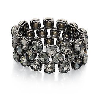 Fiorelli Mode Svart Kristall Gunmetal Plated Stretch Armband