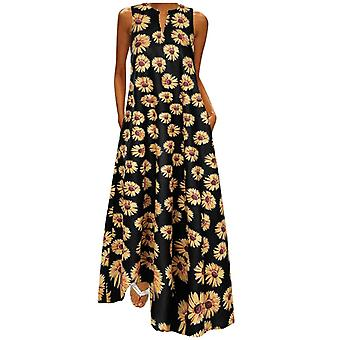 Women Sunflower Print, Bohemian V Neck Sleeveless Maxi Dress
