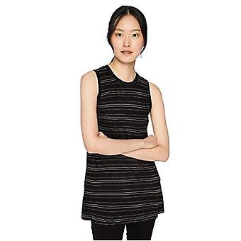 Brand - Daily Ritual Women's Jersey Muscle-Sleeve Swing Tunic, Sort-hvid stribe, Lille