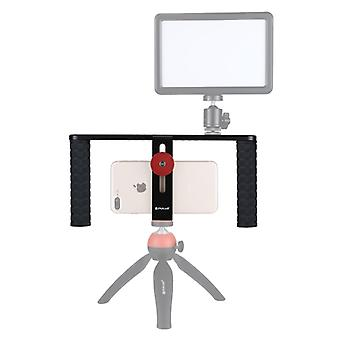 PULUZ Vlogging Live Broadcast Smartphone Video Rig Filmmaking Recording Handle Stabilizer Aluminum Bracket for iPhone, Galaxy, Huawei, Xiaomi, HTC, LG