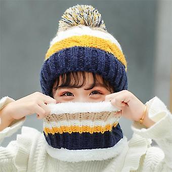 Big Kids Winter Knit Hat Scarf Set Child Plush Warm Cap Scarves Patchwork