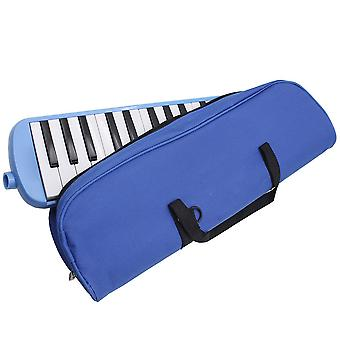32 nøgle Piano Style Harmonica Mouth Piece Blow Key Board med taske blå