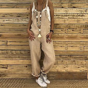 Women Casual Solid Strappy Dungarees Vintage Cotton Linen Loose Harem Rompers
