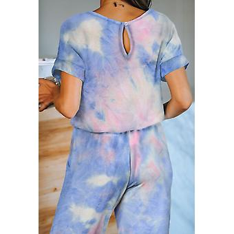 Pocketed Tie-dye Short Sleeve Knit Jumpsuit