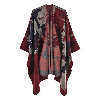 Women's Autumn And Winter Plus Size Graffiti Wine Red Warm Scarf Blanket Shawl