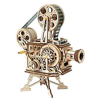 Rétro Style Diy-3d Hand Crank, Wooden Film Projector Model-assembly Toy