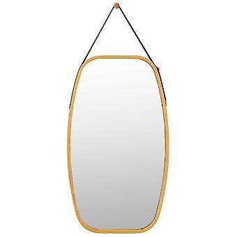 Vintage Oval Hanging Makeup Mirror Adjustable Leather Strap Rectangle 77 X 44 CM