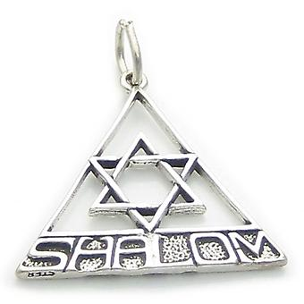 Star Of David With Shalom Sterling Silver Charm Pendant .925 X 1 Jewish - 2642