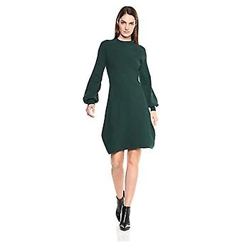 Brand - Lark & Ro Women's Mock Neck Fit and Flare Sweater Dress with Bell Sleeves