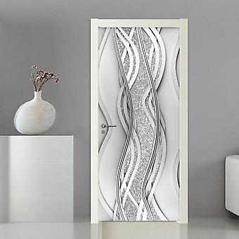 Pvc Door Sticker Modern 3d Abstract Fashion Line Pearl Wallpaper Living Room