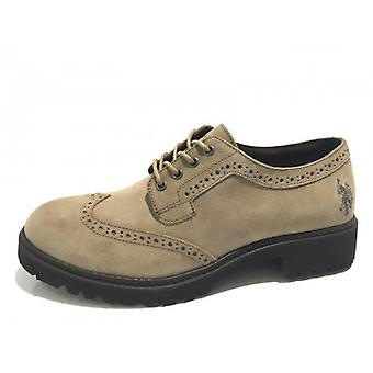Damesschoenen Us Polo Francesina In Suede Taupe Double Tank D16up04