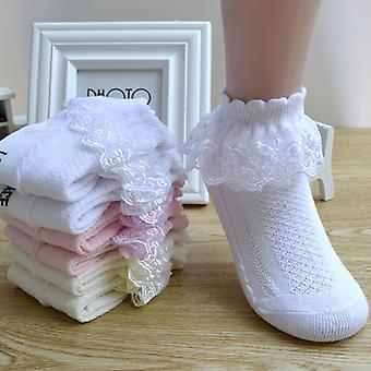 8 párů Prodyšná bavlněná krajka Volánka Princess Mesh Ponožky Děti Kotník Krátký ponožka Bílá Růžová Modrá Baby Girls Dětské Batole
