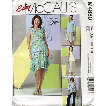 Easy McCall's Pattern M4880 Missesin äitiys topit, hame ja housut kahdessa pituudessa, koko AA (6-8-10-12)