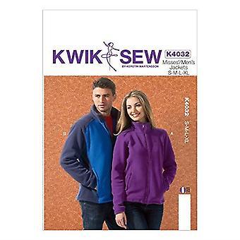 Kwik Sew Sewing Pattern 4032 Misses Mens Front Zipper Jackets Size S-XL