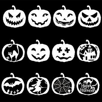 12 Pieces Halloween Pumpkin Stencil Set Plastic Drawing Templates