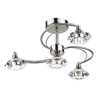 DAR LUTHER Semi Flush Plafondlamp Satijn Chroom Kristal, 4x G9