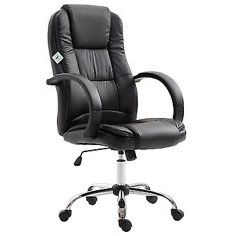Vinsetto High Back Executive Office Chair Swivel PU Leather Ergonomic Chair, with Padded Arm, Adjustable Height, Black