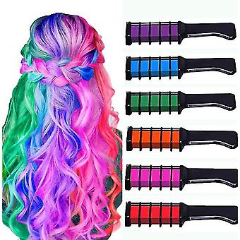 Washable Hair Chalk Comb , Hair Color Dye Comb For Girls , 6 Colors