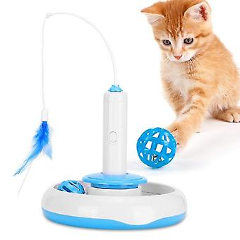 2 In 1 Electric Cat Stick and Tower of Tracks Automatic Rotating Interactive Cats Toys Ball