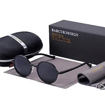 Round black frame lennon style aluminium sunglasses