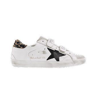 Golden Goose Estrella Cuero Rayas de Cristal Blanco F00111. F001154.80302BEIGE BROWN LEO/WHIT zapato