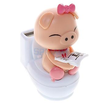 Solar Powered Bobble Head Pig Sitting On Toilet Home Car Ornament Kids Toy