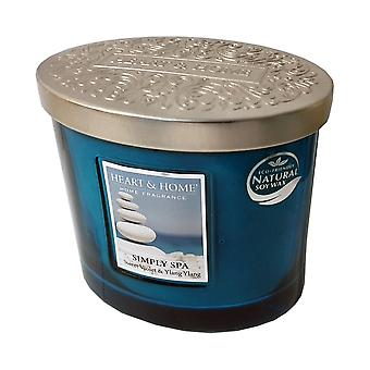 Heart & Home Ellipse Twin Wick Soy Wax Candle - Simply Spa 00276260303