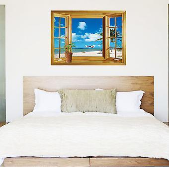 Regenboghorn Sea View Fake Window Wall Decal Sticker JM8012