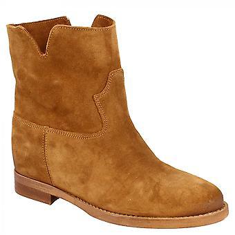 أحذية ليوناردو أحذية أحذية الكاحل المصنوعة يدويا مع منصة داخلية في جلد جلد الغزال تان