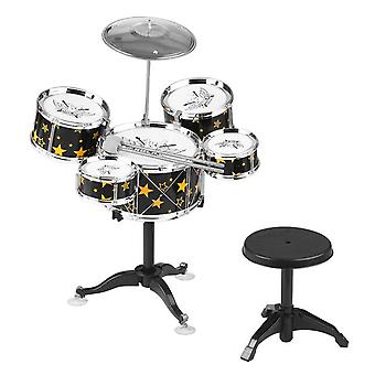 Kids children jazz drum set 5pcs drums with cymbal drumsticks adjustable stool musical gift percussion instrument