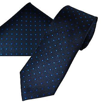 Ties Planet Gold Label Navy &Royal Blue Polka Dot Silk Men's Tie &Pocket Square Set