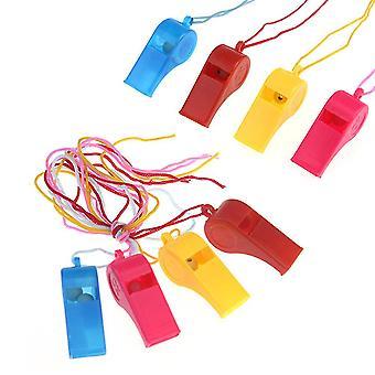 8шт Пластиковый тренировочный свисток Спортивный судейский свисток с ремешком (случайный цвет)