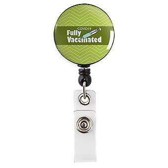 Covid 19 Fully Vaccinated Chevron Green Retractable Badge Reel