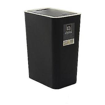 12 litres de poubelle de tri, poubelle domestique rectangulaire en plastique avec couvercle (noir)