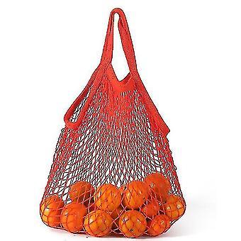 Krátký výběr Čistá bavlněná síťová taška Přenosná bavlněná taška Bavlna Supermarket Zelenina (červená)